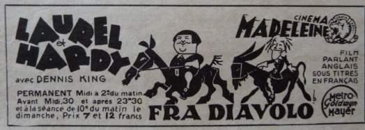 Fra Diavolo au Cinéma Madeleine (Cinemonde - 20juillet 1933)