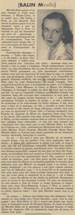 L'article sur Mireille Balin (Pour Vous 1935)