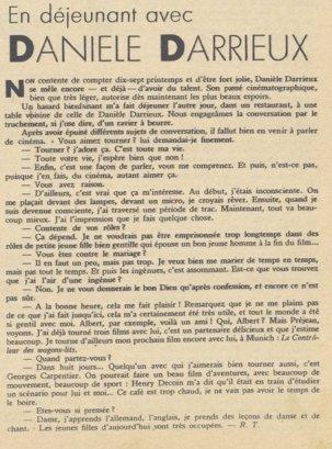 Article sur Danielle Darrieux (Pour Vous 01.11.1934)