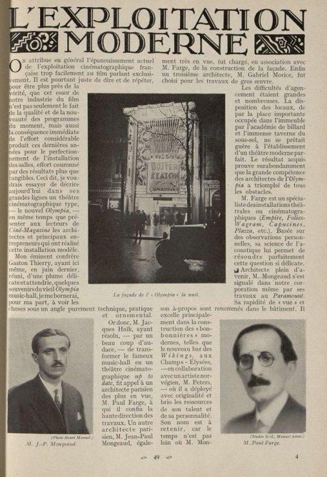 L'Olympia, salle de cinéma (Cinémagazine 1930)