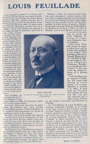 Louis Feuillade dans Cinémagazine 1921