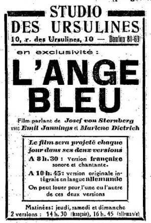 l'Ange Bleu au Studio des Ursulines (la semaine à Paris du27.02.31)