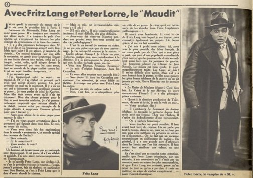 Fritz lang et Peter Lorre dans Pour Vous du 21 avril 1932