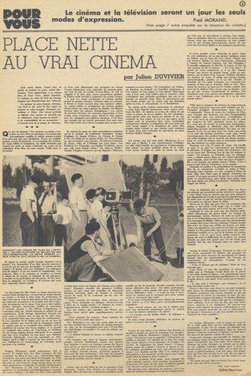 Duvivier dans Pour Vous du 16 novembre 1933