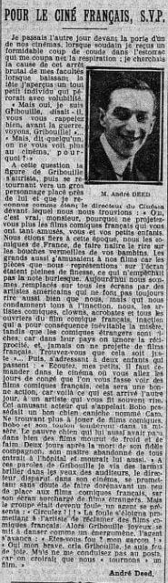 paru dans Le Petit Journal du 13 octobre 1922