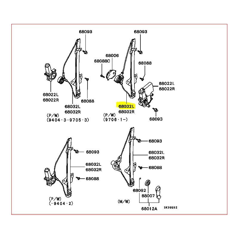 Mécanisme de Lève Vitre électrique Arrière Gauche Pajero 2