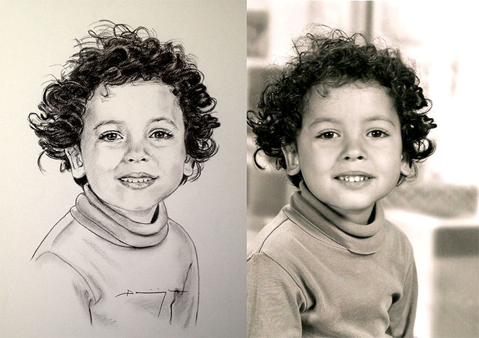 portrait d enfant noir et blanc sur