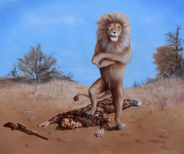 Illustration antispéciste de Larry Torro inversant le rapport animal et humain. Les animaux sauvages sont chassés et victimes du braconnage, à l'image du lion Cécil.
