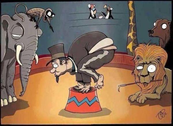 Illustration antispéciste de Vin Paneccasio inversant le rapport animal et humain afin de changer la manière dont nous traitons les animaux non-humains. Ici un numéro de cirque pour lequel les animaux sont domptés de manière souvent cruelle, et qui vont à l'encontre de leurs besoins naturels.