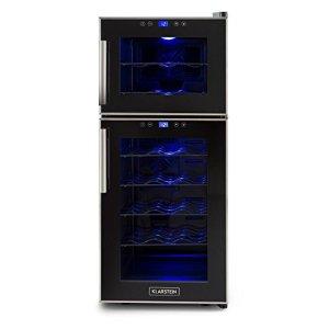 Klarstein Reserva 21 Cave à vins 21 bouteilles avec lumière LED et 2 zones de froid à température réglable (56L, panneau de commande tactile, 8° à 18°C)