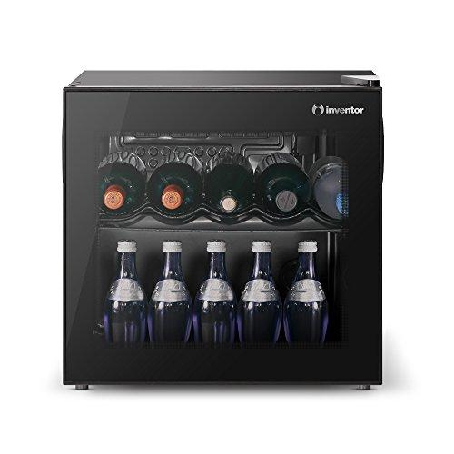 Inventor Vino Cave à Vin Réfrigérée 43L, Porte Vitrée Réversible à Filtre UV, Contrôle de Température Mécanique de 2° C à 21° C, Bas Niveau Sonore