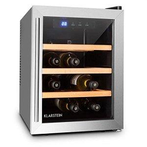 Klarstein Reserva 12 Uno Cave à vins Cave à vin réfrigérante Capacité de 33 litres 9 bouteilles 3 étagères amovibles Éclairage LED Température réglable 11 à 18 °C Noir-Argent