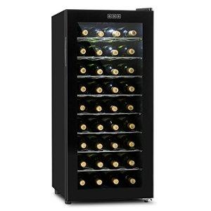 Klarstein Vivo Vino Cave à vin thermoélectrique (36 bouteilles, 118L, 8 étagères amovibles, température réglable, double porte en verre isolant)