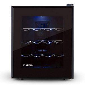 Klarstein Barolo • Cave à vin • Porte en verre doublement isolée • 3 tiroirs métalliques • 48 litres • 16 bouteilles standard • Eclairage intérieur LED • Facile à nettoyer • Noir