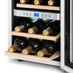 Klarstein Reserva – Cave à vin, 2 zones programmables, 12 bouteilles de vin, Capacité de 34 litres, Refroidit sans faiblir entre 7 et 18 °C, 4 étagères coulissantes, Vitrine blanche éclatante, Blanc