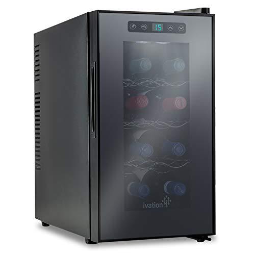 Refroidisseur thermoélectrique/cave à vin rouge et blanc – capacité de 8 bouteilles – Ivation avec affichage numérique de la température, réfrigérateur indépendant avec porte en verre fumé