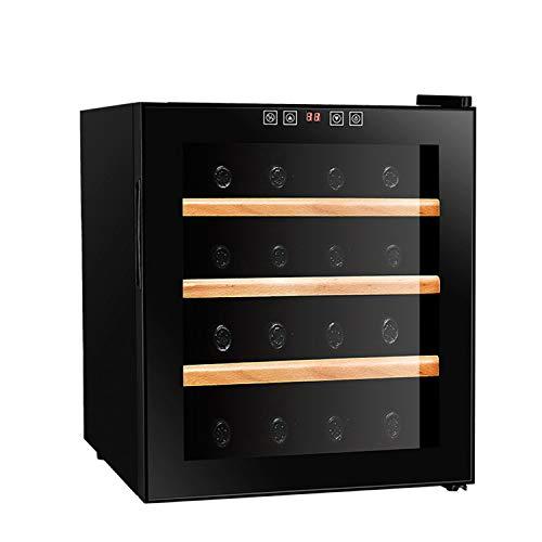 JIAODIE Cave à vin avec porte en verre et porte en verre – Réfrigérateur pour boissons avec écran LCD numérique – 16 bouteilles – Noir – Dimensions : 43 x 48 x 51 cm