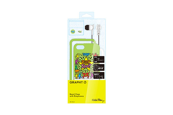 Coque iPhone 5 Keith Haring Collection Pop Shop et Ecouteurs Verts