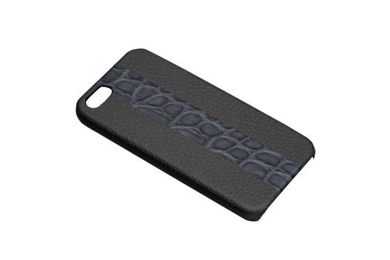 Coque iPhone 5/5s/SE Shrunkencalf avec bande Crocodile (Titanium/ Gris Mat)