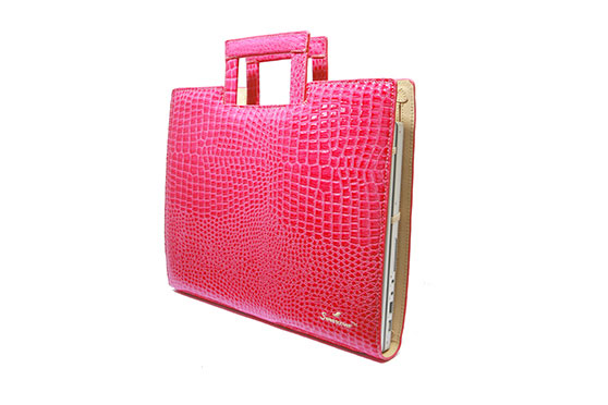 "Sac Ordinateur Sweetcover 14"" Croco (Rose)"