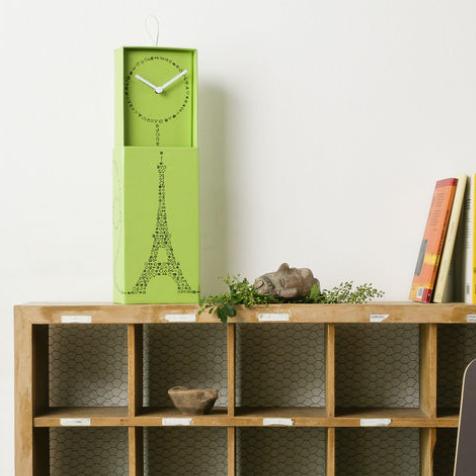 Horloge coffret carton motif Paris (Verte)