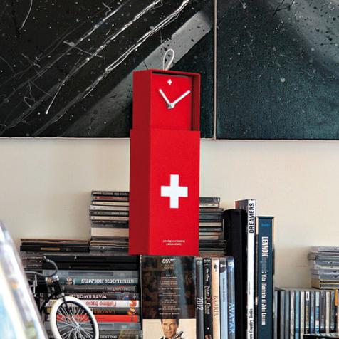 Horloge Swiss Clock (Rouge)