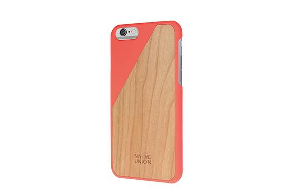 Coque Clic Wooden iPhone Native Union (Corail/Merisier)