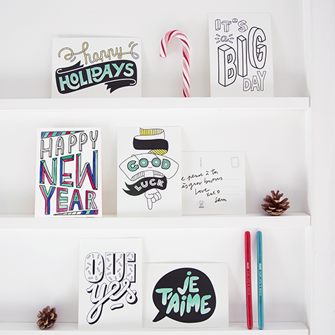 16 cartes postales à colorier Happy Messages Omy