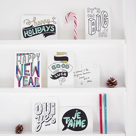 16 cartes postales à colorier Happy Messages Omy