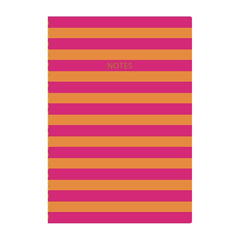Cahier A4 Pop à rayures orange et rose Go Stationery