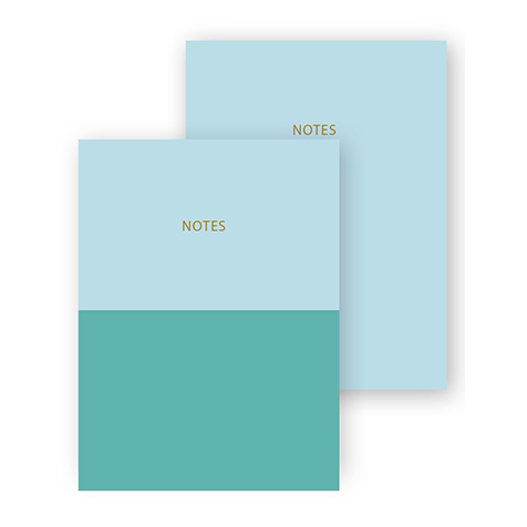 Set de 2 cahiers A6 Colourblock bleu vert Go Stationery