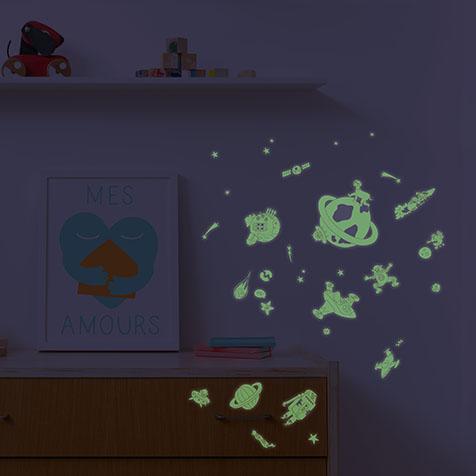Stickers phosphorescents Cosmos Omy