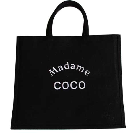Sac jute noir Madame Coco broderie blanches Improbables