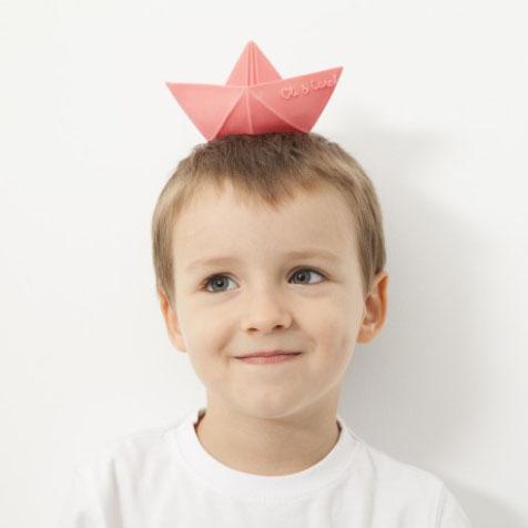 Jouet de bain Origami bateau rose Oli & Carol