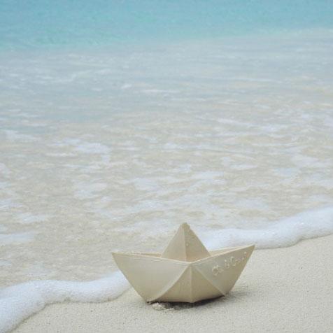 Jouet de bain Origami bateau blanc Oli & Carol