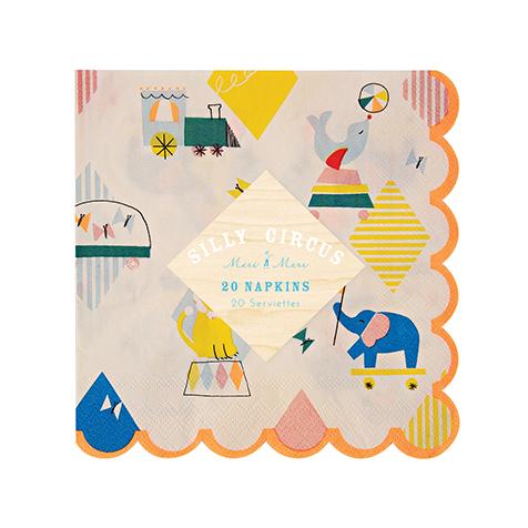 20 serviettes en papier Silly Circus Meri Meri