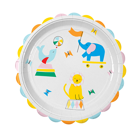 12 assiettes jetables en carton Silly Circus Meri Meri