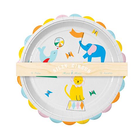 12 assiettes jetables en carton Silly Circus Meri Meri