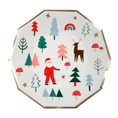 8 grandes assiettes de Noël Meri Meri