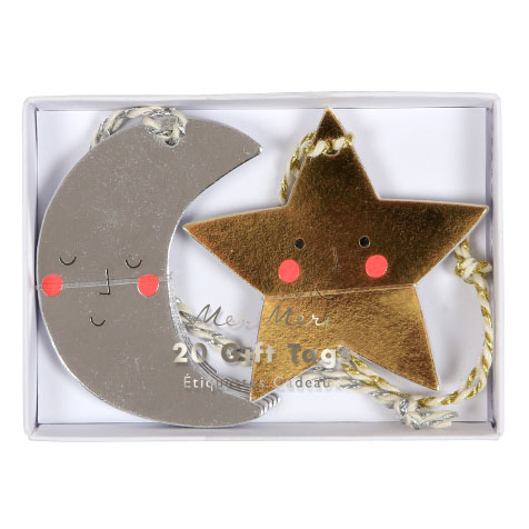 20 étiquettes cadeaux lune et étoile Meri Meri