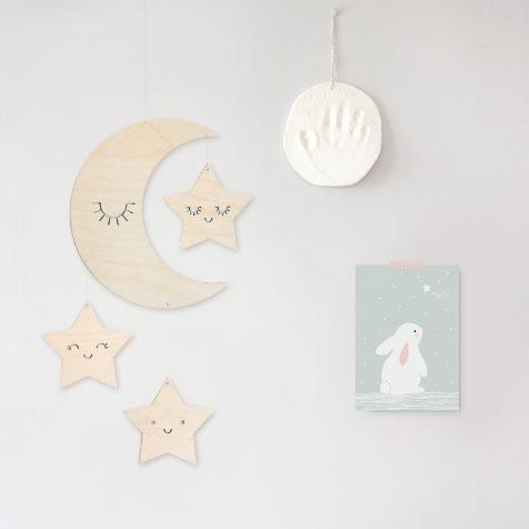 Grande carte lapin étoile bleu Zü