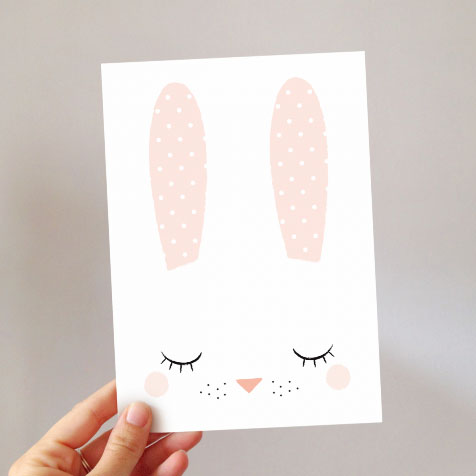 Grande carte postale Bunny blanc Zü