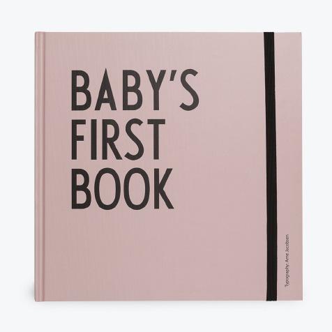 Livre de naissance Baby's first book rose Design Letters