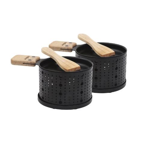 2 sets à raclette individuel à la bougie noir Cookut