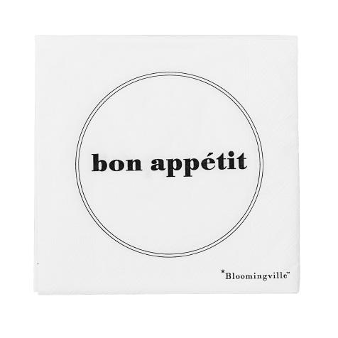 20 Serviettes en papier Bon appétit blanche Bloomingville