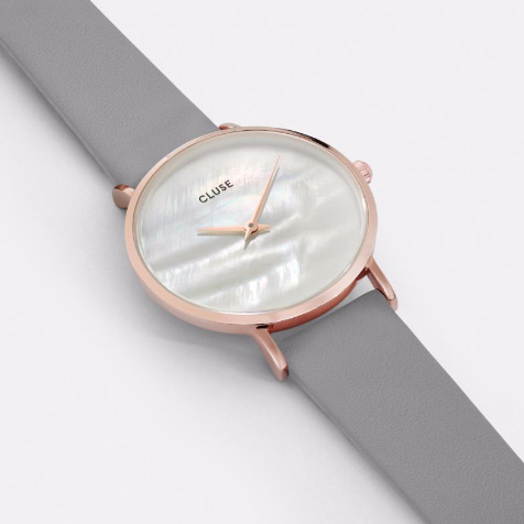 Montre Minuit La Perle Stone Grey rose gold blanc perle Cluse