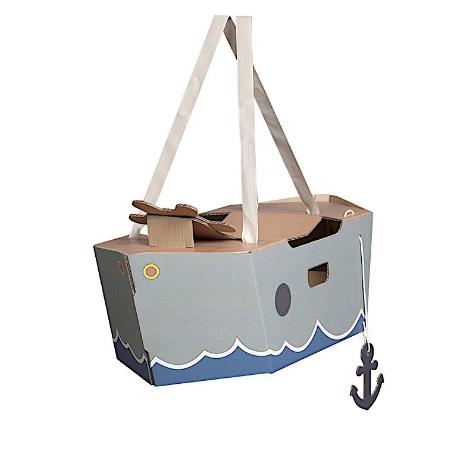 Déguisement en carton bateau vert enfant Mister Tody