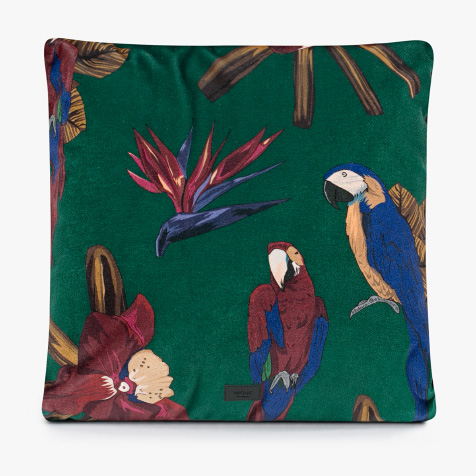 Coussin Tropical Night perroquet vert Wouf