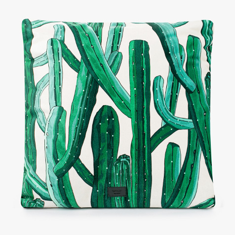Coussin Cactus sauvage vert et blanc Wouf