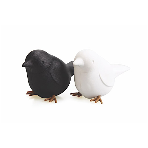Salière et poivrière oiseaux noir et blanc Qualy